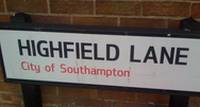 highfield lane sign
